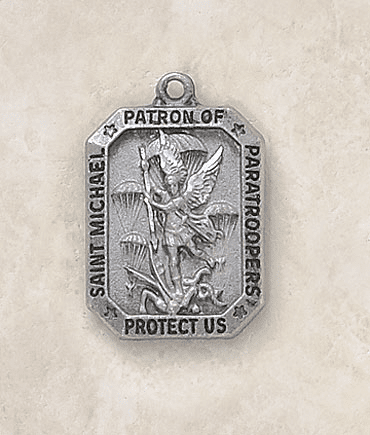 Paratroopers Sterling Silver St Michael Medal Necklace by Creed