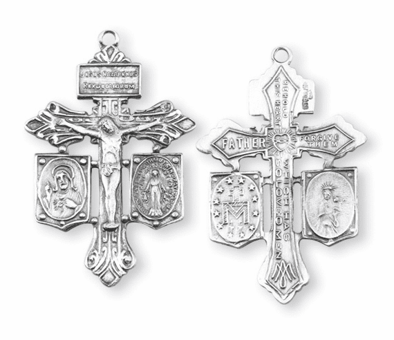 Pardon Sins Sterling Silver Crucifix Cross Medal Rosary Part by HMH Religious