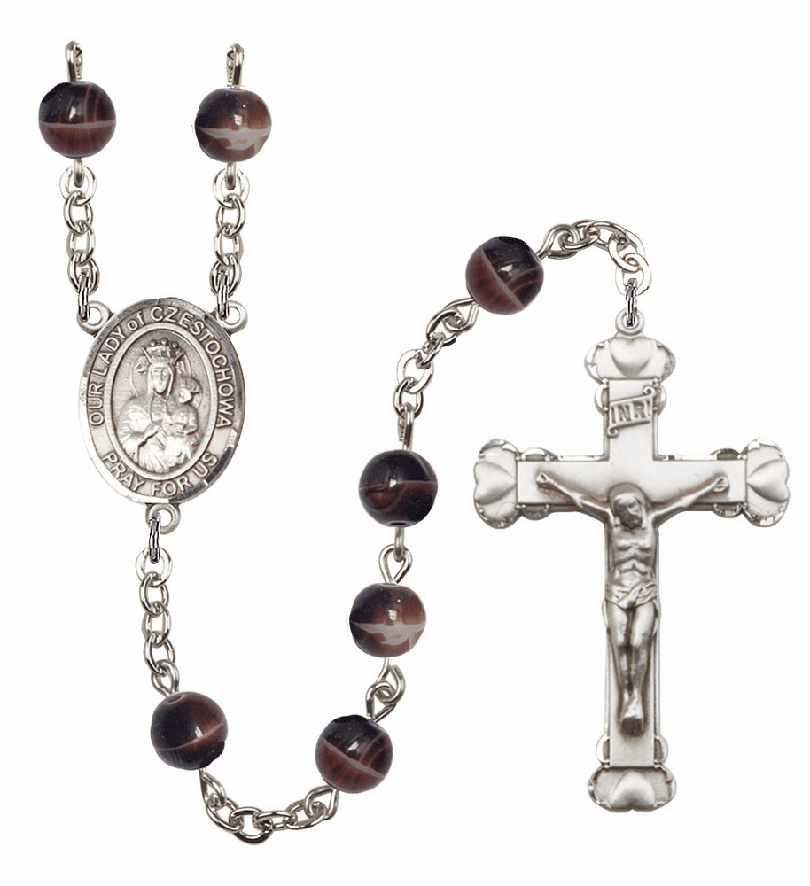 Patron Saint Heart 7mm Brown Gemstone Prayer Rosary by Bliss