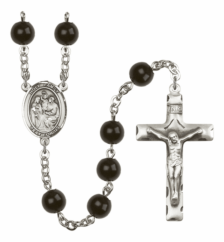 Bliss Mfg Holy Family 7mm Black Onyx Rosary
