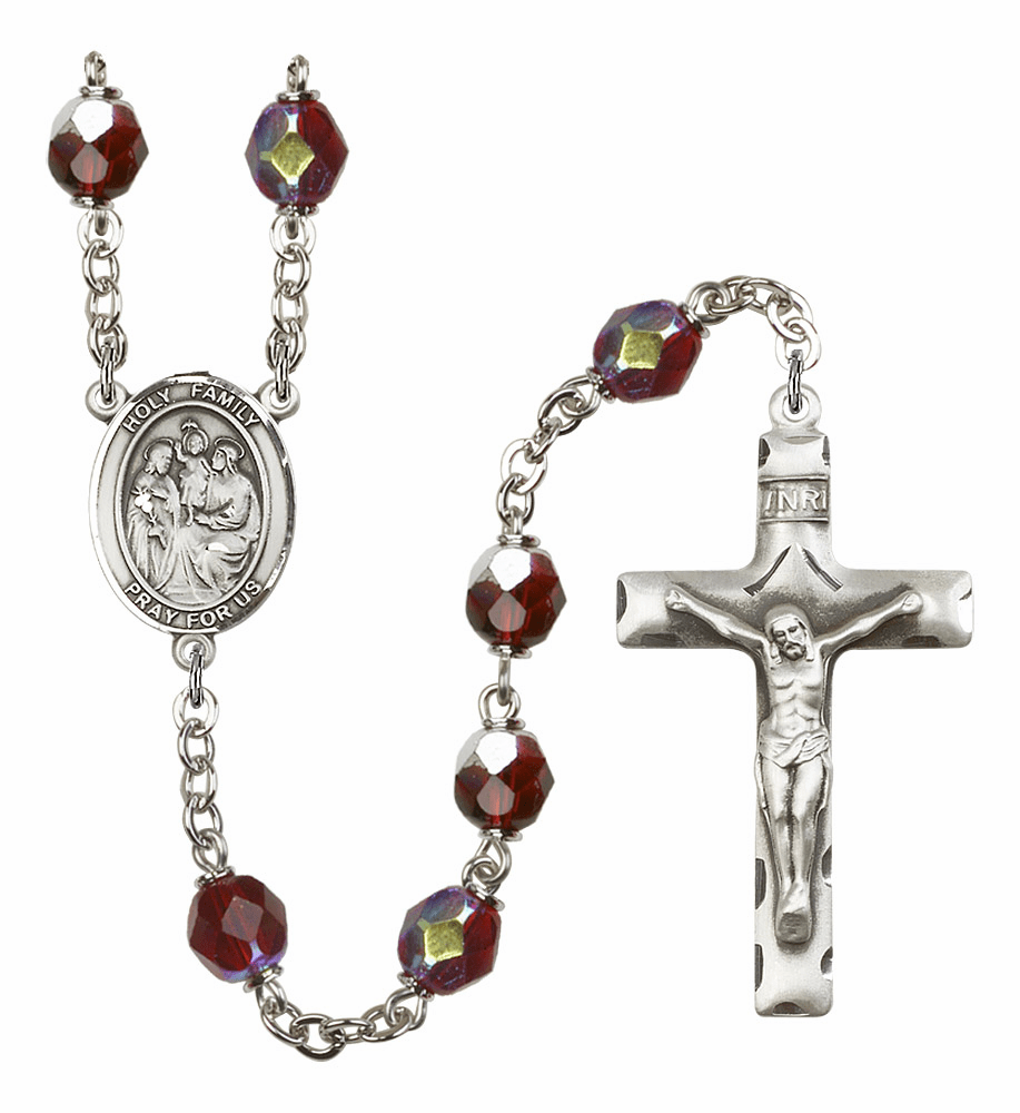 Patron Saint Holy Family 7mm Lock Link Aurora Borealis Garnet Rosary by Bliss Mfg