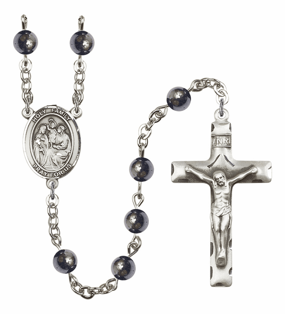 Patron Saint Holy Family Hematite Gemstone Prayer Rosary by Bliss Mfg