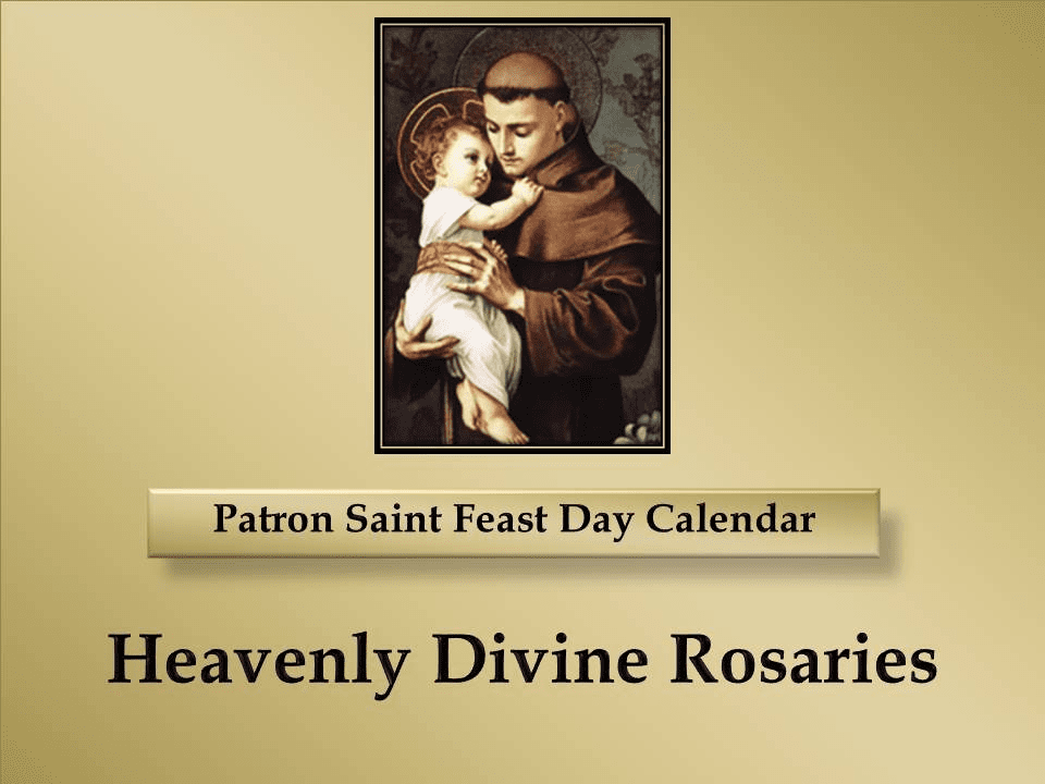 Patron Saint Memorial Feast Day Calendar