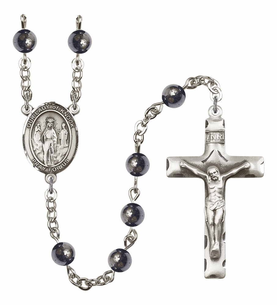 Our Lady of Knock 6mm Hematite Gemstone Rosary by Bliss Mfg