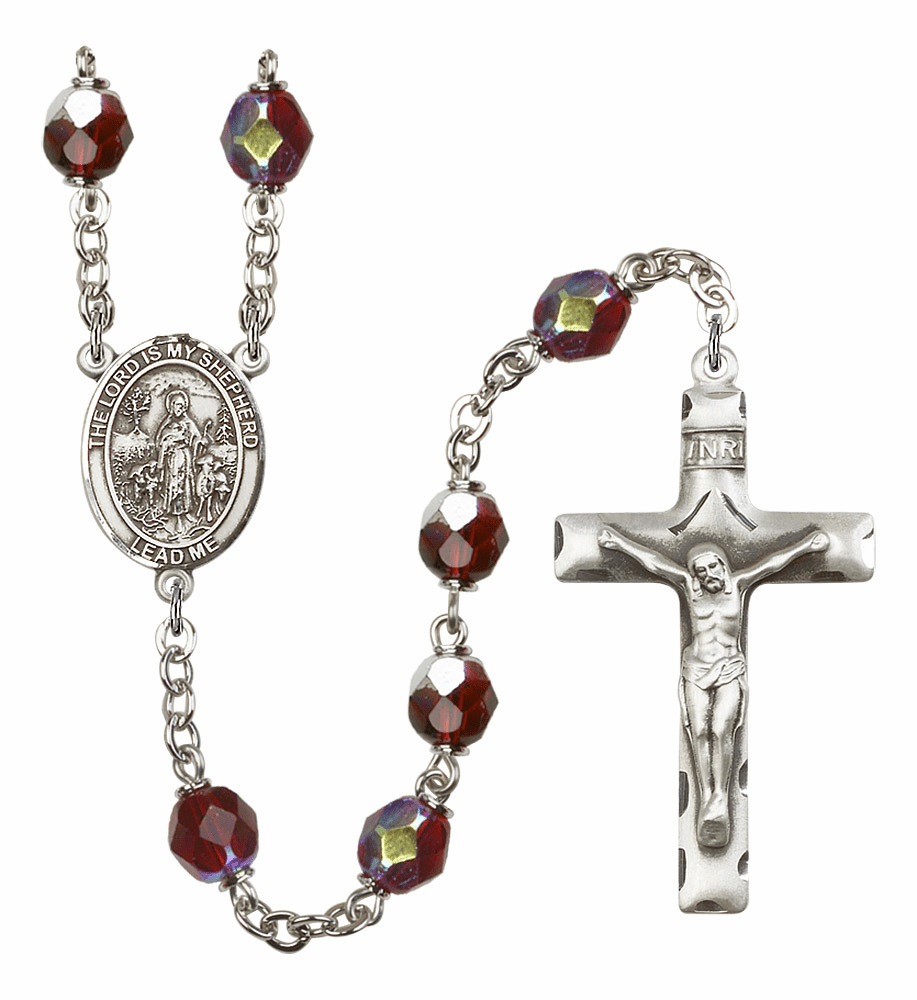 Patron Saint Silver-Plated 7mm Lock Link Aurora Borealis Garnet Beads Prayer Rosary by Bliss