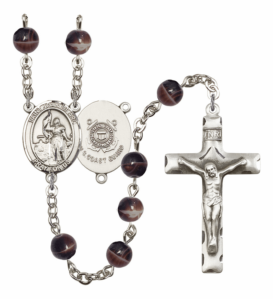 St Joan of Arc Coast Guard Military 7mm Brown Gemstone Rosary by Bliss