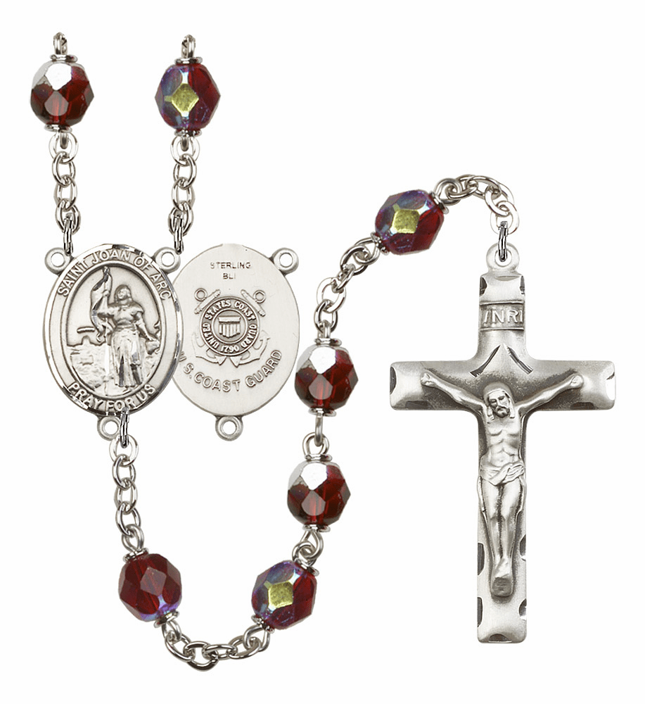 St Joan of Arc Coast Guard Military 7mm Lock Link AB Garnet Rosary by Bliss Mfg
