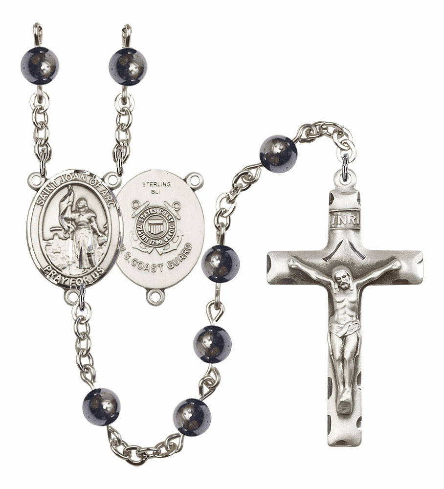 St Joan of Arc Coast Guard Military 6mm Hematite Rosary by Bliss Mfg