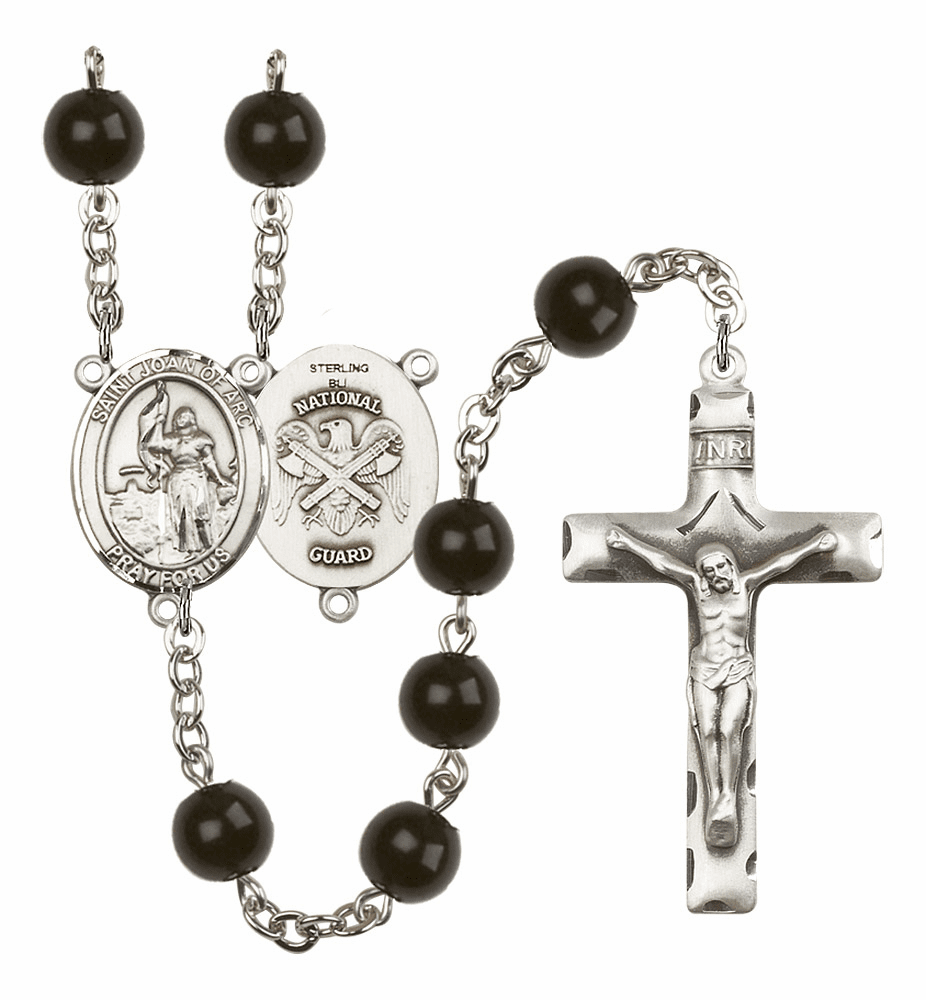 Bliss Mfg St Joan of Arc National Guard Military 7mm Black Onyx Rosary