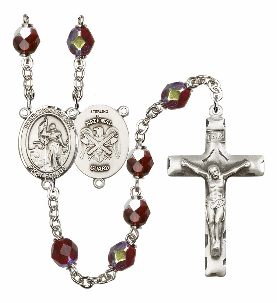 St Joan of Arc National Guard Military 7mm AB Garnet Rosary by Bliss Mfg