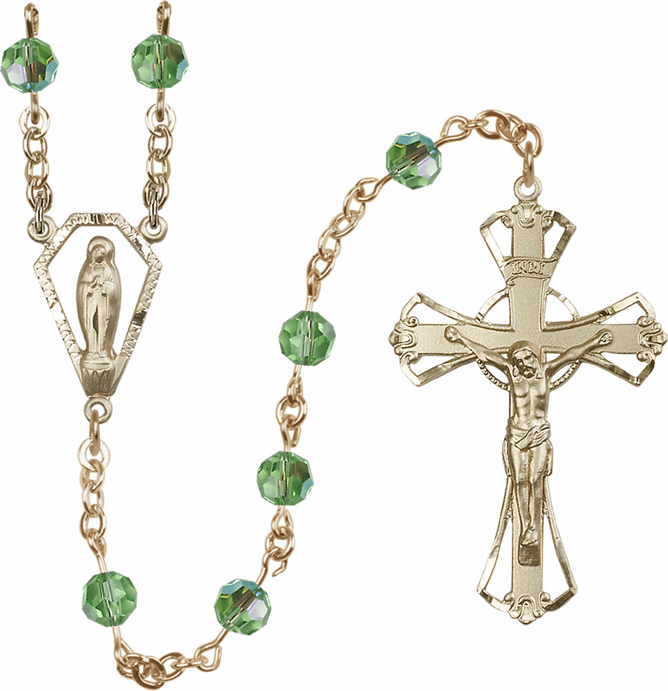Peridot 6mm Swarovski 14kt Gold Praying Madonna Catholic Rosary by Bliss
