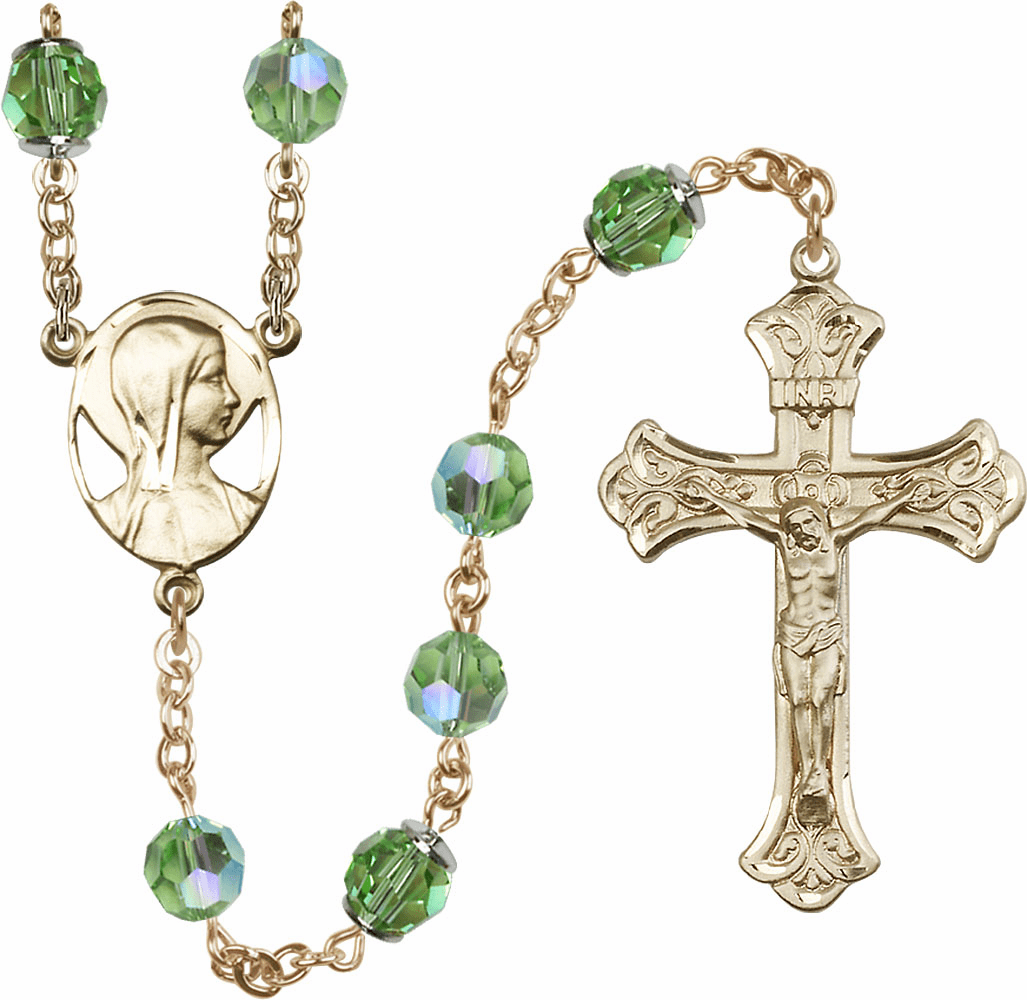 Peridot Swarovski 8mm Aurora Borealis Crystal 14kt Gold Rosary by Bliss