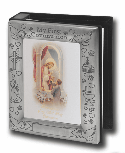 Pewter First Holy Communion Boys Photo Album by Hirten