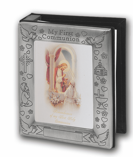 Pewter First Holy Communion Girls Photo Album by Hirten