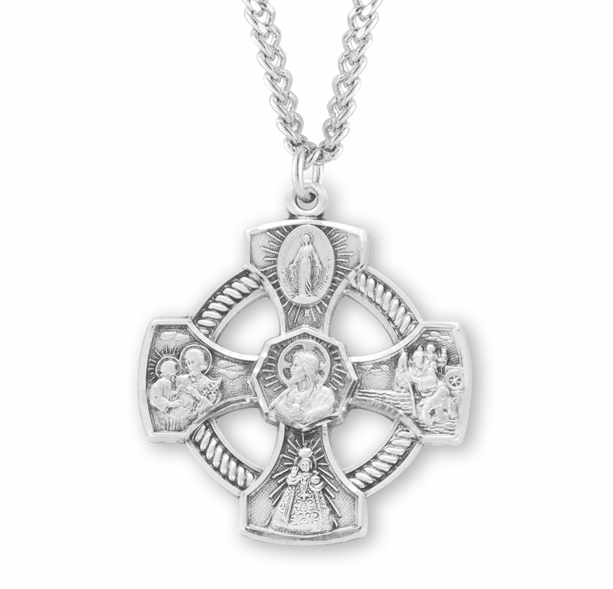 Pierced Circle Roped Cross Sterling Silver Four-Way Medal Necklace by HMH Religious