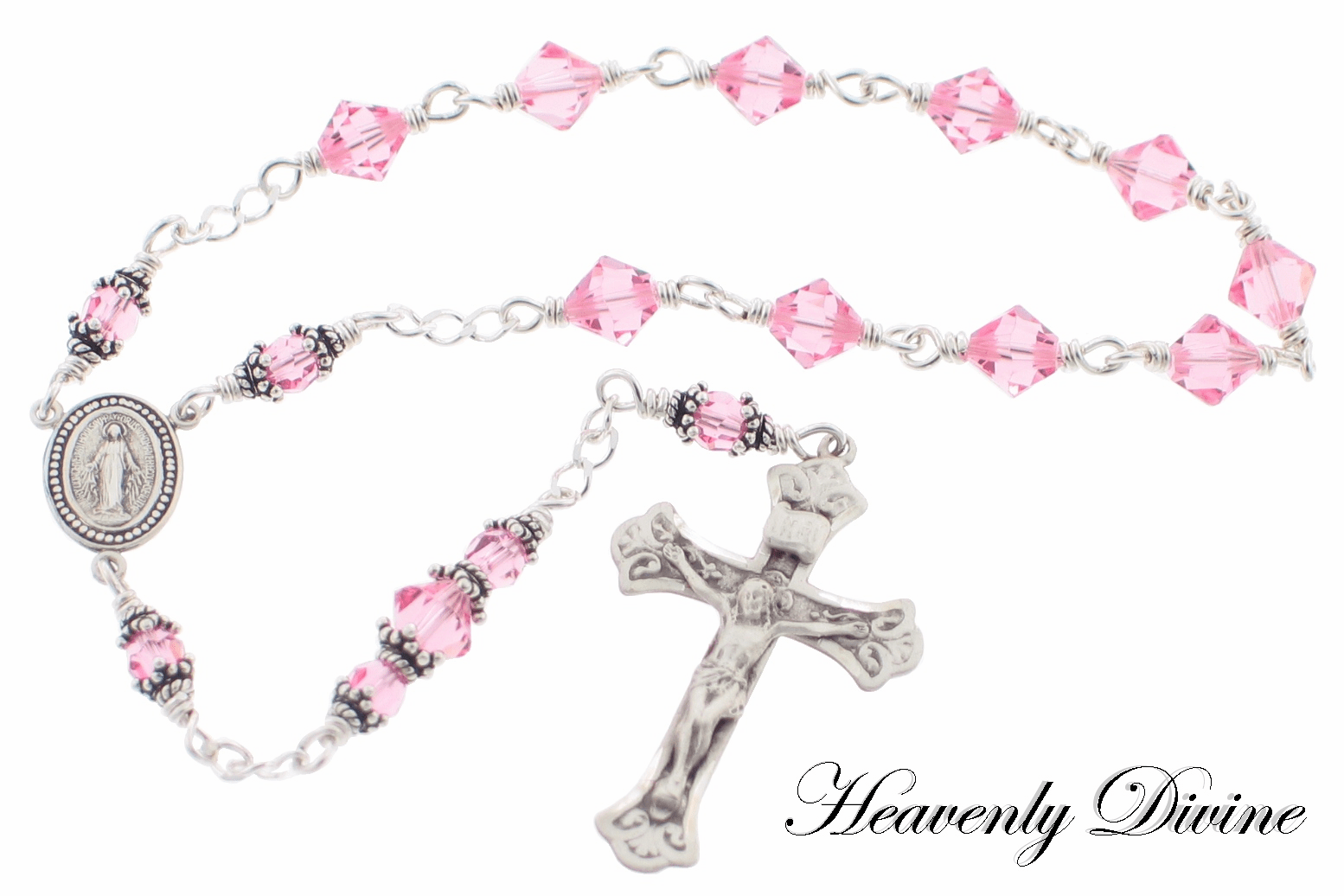 Pink Rose One Decade Sterling Silver Wire Wrapped Rosary by Heavenly Divine