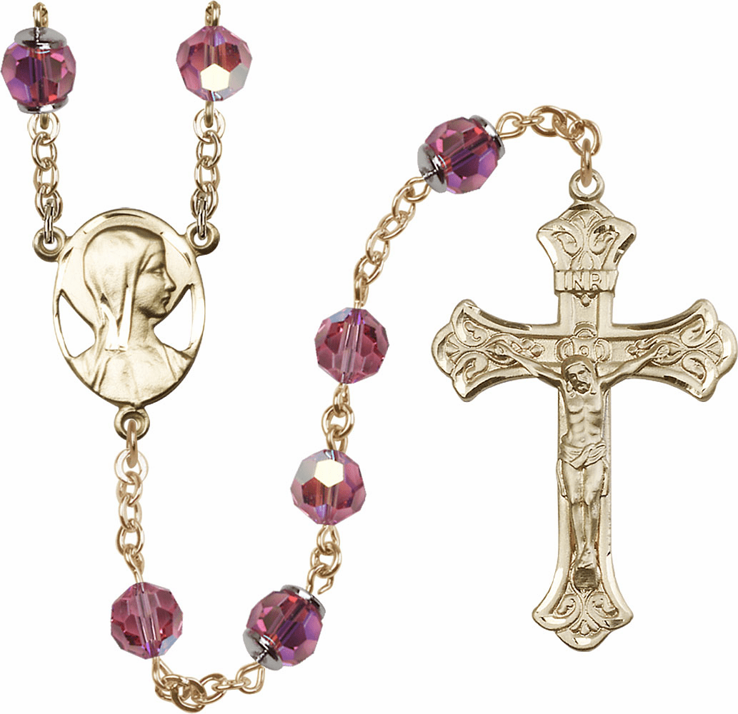 Pink Rose Swarovski 8mm Aurora Borealis Crystal 14kt Gold Rosary by Bliss