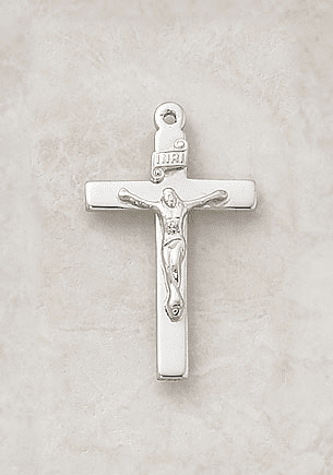 Plain Christian Sterling Silver Crucifix Medal Necklace by Creed Jewelry