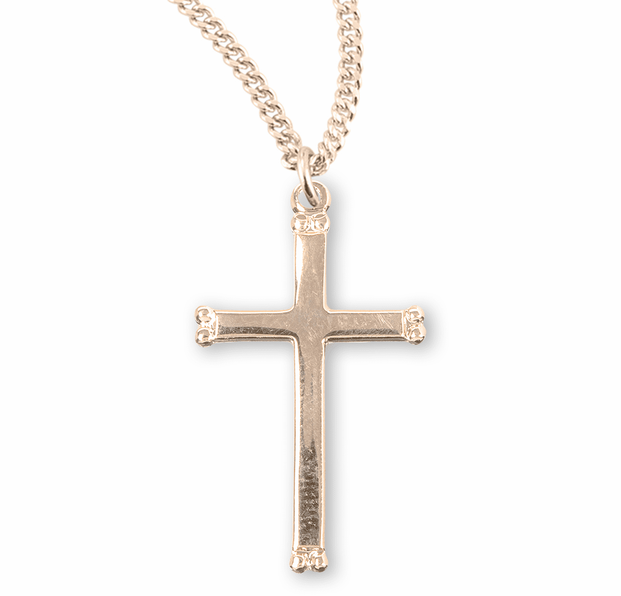 Plain Gold Cross w/Beaded Ends Necklace by HMH Religious