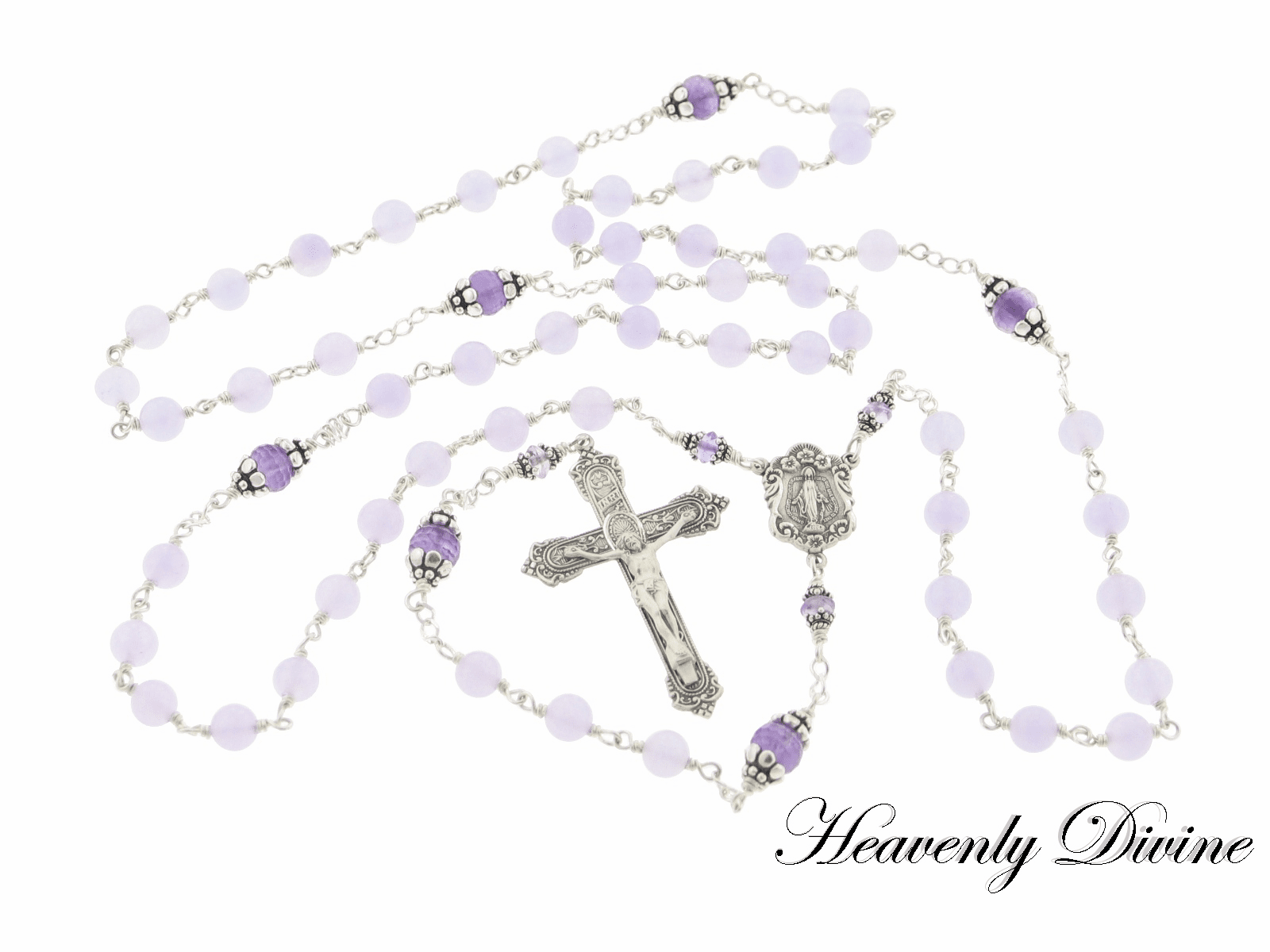 Plum Lavender Jade & Amethyst Sterling Silver  Wire Wrapped Rosary by Heavenly Divine
