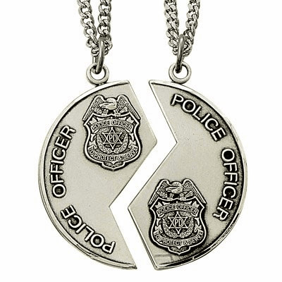 Singer His and Her's Police Miz Pah Sterling Silver Medal Necklaces