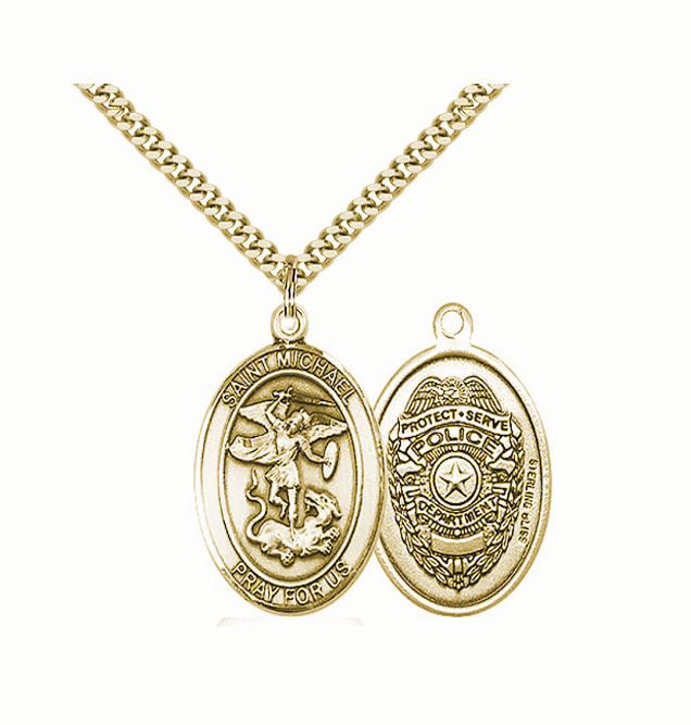 Police Officer St Michael 14kt Gold-filled Pendant Necklace by Bliss Mfg