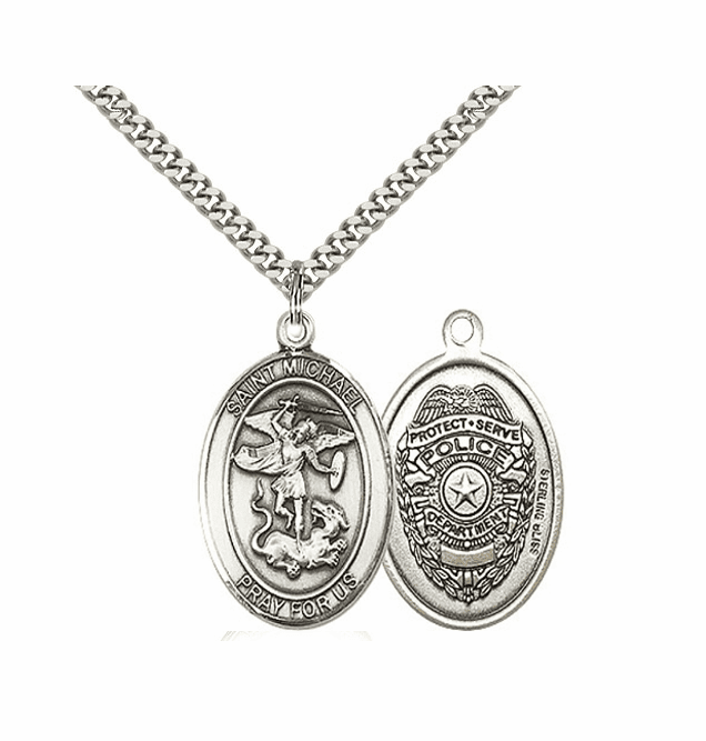 Police Officer St Michael Silver-filled Pendant Necklace by Bliss Mfg