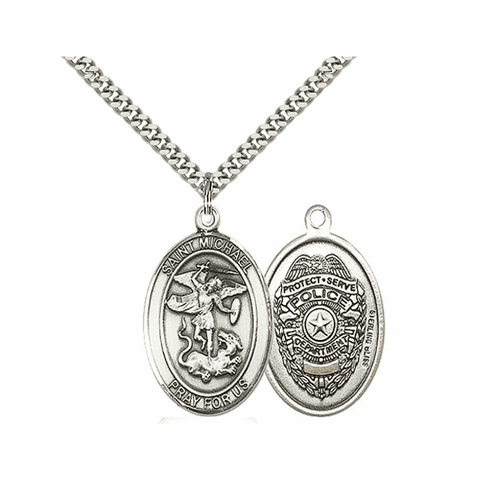 Police St Michael Sterling Silver Pendant Necklace by Bliss Mfg