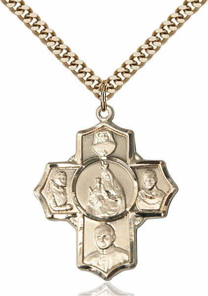 Polish Five-Way Cross 14kt Gold-filled Pendant Necklace by Bliss