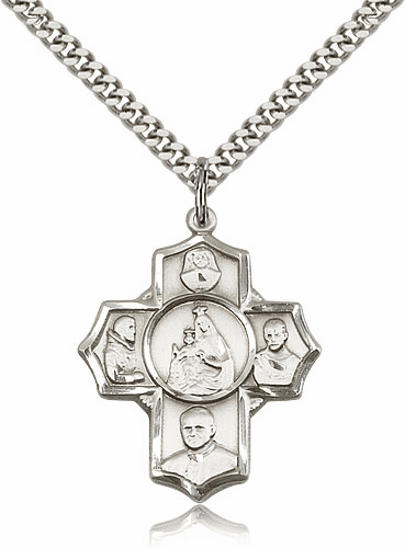 Polish Five-Way Cross Sterling Silver Pendant Necklace by Bliss