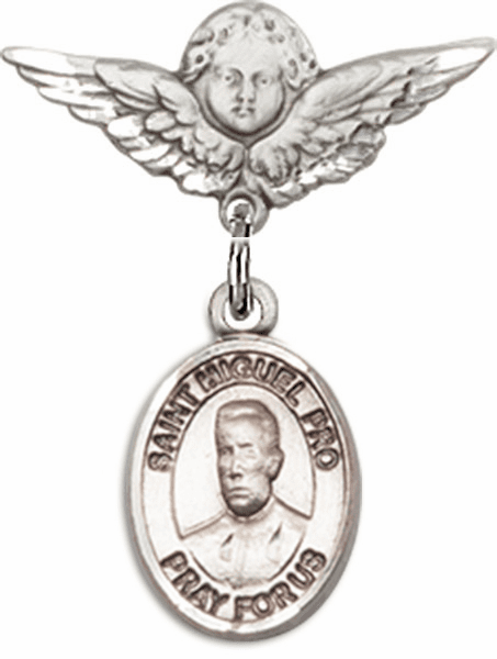 Bliss Bliss Polished Angel Wings Pin Baby Badge w/ Blessed Miguel Agustin Pro Charm