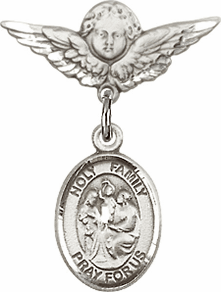 Polished Angel Wings Pin Baby Badge with Holy Family Charm