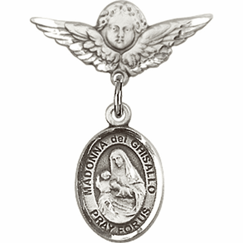 Polished Angel Wings Pin Baby Badge with Madonna Del Ghisallo Charm