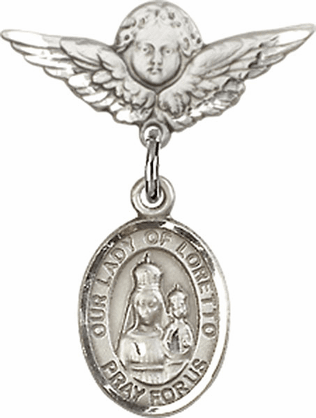 Polished Angel Wings Pin Baby Badge with Our Lady of Loretto Charm
