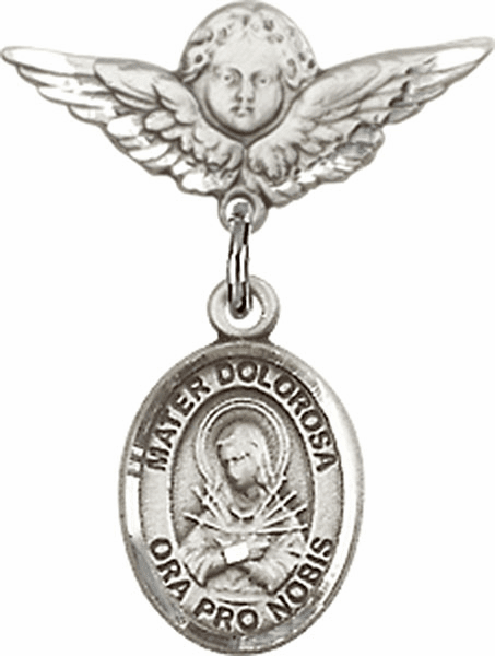 Polished Angel Wings Pin Baby Badge with Our Lady of Sorrows - Mater Dolorosa Charm