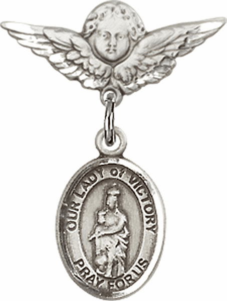 Polished Angel Wings Pin Baby Badge with Our Lady of Victory Charm