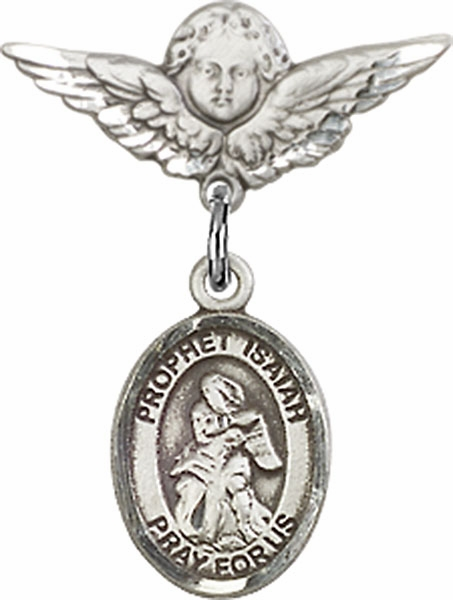 Polished Angel Wings Pin Baby Badge with Prophet Isaiah Charm