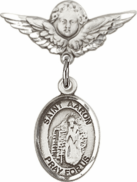 Polished Angel Wings Pin Baby Badge with St Aaron Charm