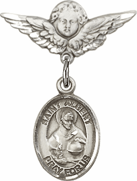 Polished Angel Wings Pin Baby Badge with St Albert the Great Charm