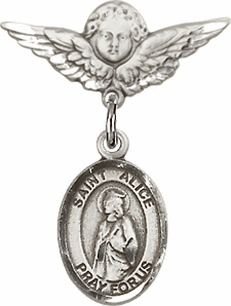 Polished Angel Wings Pin Baby Badge with St Alice Charm
