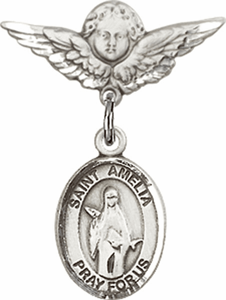 Polished Angel Wings Pin Baby Badge with St Amelia Charm