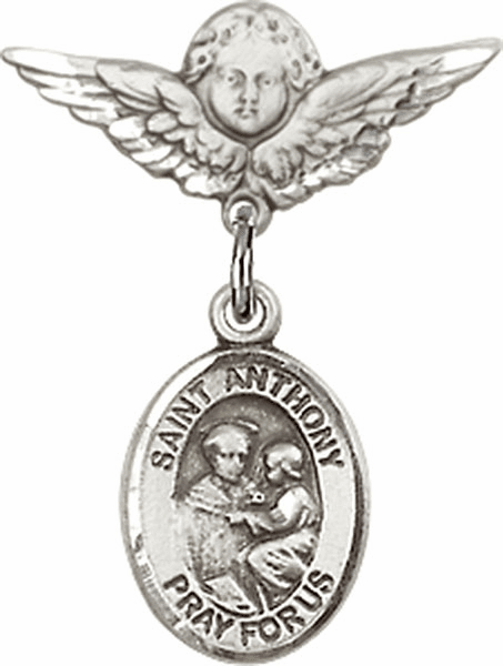 Polished Angel Wings Pin Baby Badge with St Anthony of Padua Charm
