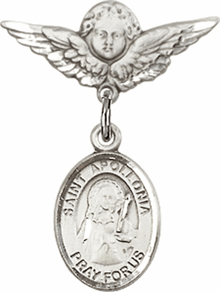 Polished Angel Wings Pin Baby Badge with St Apollonia Charm