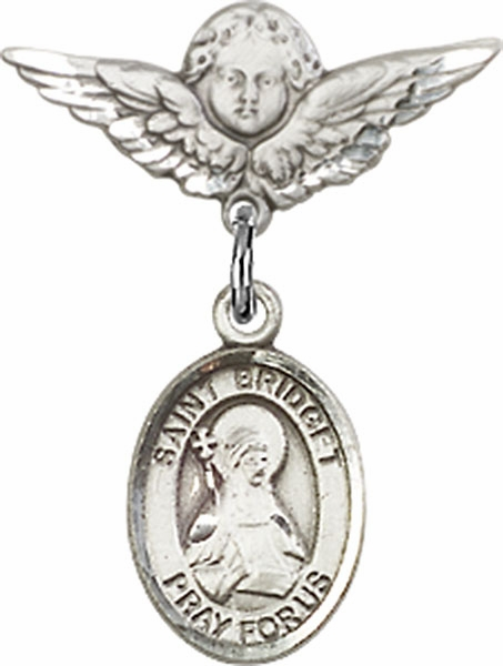Polished Angel Wings Pin Baby Badge with St Bridget of Sweden Charm