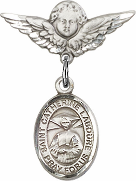 Polished Angel Wings Pin Baby Badge with St Catherine Laboure Charm