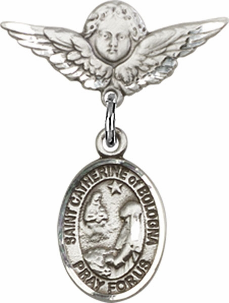 Polished Angel Wings Pin Baby Badge with St Catherine of Bologna Charm