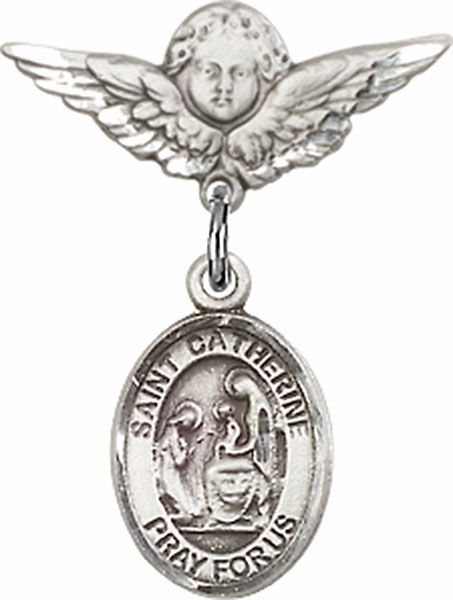Polished Angel Wings Pin Baby Badge with St Catherine of Siena Charm