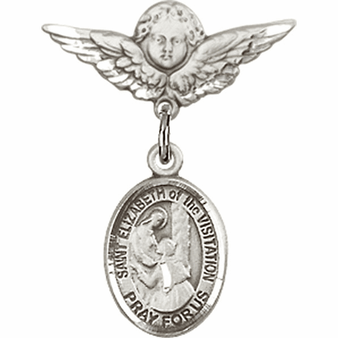 Polished Angel Wings Pin Baby Badge with St Elizabeth of the Visitation Charm