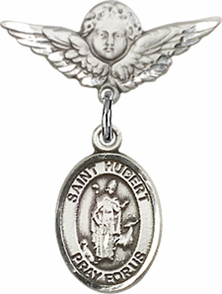 Polished Angel Wings Pin Baby Badge with St Hubert of Liege Charm