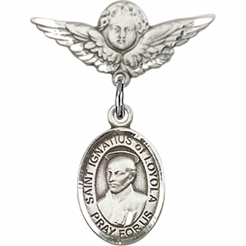 Polished Angel Wings Pin Baby Badge with St Ignatius of Loyola Charm